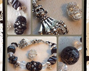 Sparkly Skulls Bracelet Halloween Agate Hand of Death Day of the Dead Bones Skellington Scream