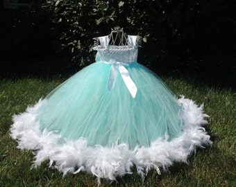 The Hair Bow Factory Aqua and White Feather Tutu Dress Size 12-24 Months-12