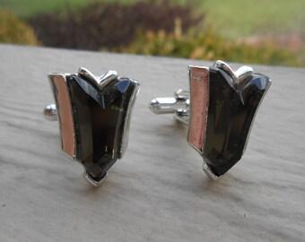 Vintage Smokey Grey Cufflinks. Wedding, Men's Christmas Gift, Dad.  Valentines, Groomsmen Gift