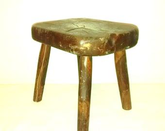 Antique Primitive Cricket Stool , Milking Seat , 19th Century , Hand Hewn