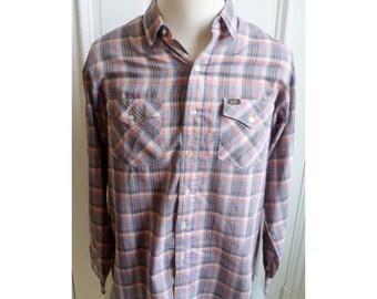 Vintage 1970s Plaid Mens Western Style Shirt - XL