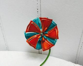 Vintage 60s Painted Flower Brooch