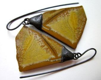 Cryin Mercy - primitive organic raw sandy brown tan fawn Owyhee jasper stone fan slabs, industrial soldered black metal bead cap earrings