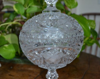 Vintage Etched Crystal Covered Candy Dish Confectionary Bowl