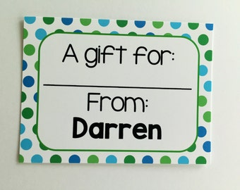 Personalized Blue Polka Dot Gift Wrapping Tags, Happy Birthday Tags, Kids Gift Tags, Gift Wrapping Labels, Custom Gift Tags, Set of 12