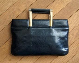 Black Clutch Bag faux leather vegan purse pleather handbag top handle vintage 70s 80s handbag high fashion hipster