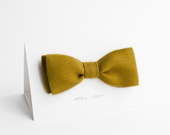 Bow tie, honey brown bow tie, dark mustard bow tie - double sided, MADE TO ORDER