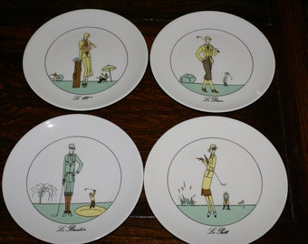 FRENCH GOLF PLATES, Art Deco Style Sporting Plates, 1920's Fashion Luncheon Salad Plates
