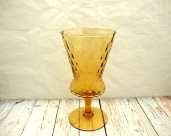 Amber Glass Vase, Tall Vintage Footed Amber Glass Vase, Console Vase, Hand Blown Rippled Glass Vase, Yellow Glass Vase, Tall Footed Vase,
