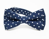 Navy dotty Bow Tie for Boys, Toddlers, Baby - Pre-tied bowtie - ring bearer, wedding day, photo prop, church or specail occasion