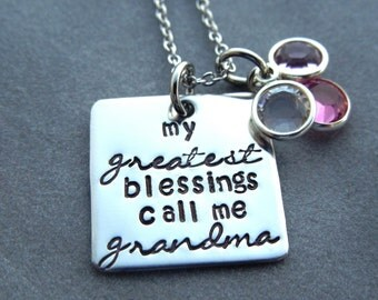 My greatest blessings call me grandma personalized necklace with birthstone crystals, hand stamped stainless steel