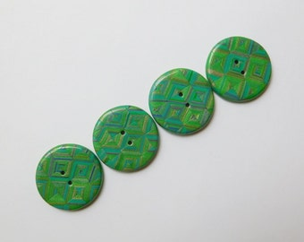 1 inch, 25 mm, green polymer clay buttons
