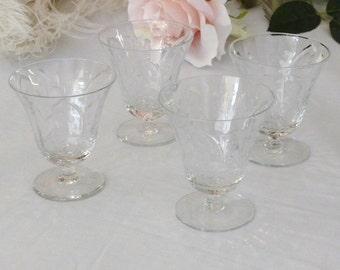 FOUR Pretty Cordial Glasses Cut Glass Crystal Aperitif Glasses