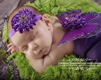 Newborn Butterfly Wings - Baby Girls Photo Prop - Dark Purple - Matching Flower Headband