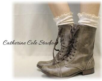 Rustic wedding socks | MISS TORI in Ivory Socks | lace boot socks | boho cowboy combat slouch boot socks womens | Catherine Cole | SLX204L