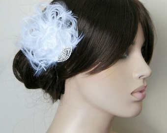 Bridal Hairpiece, Bridal Fascinator, White Feather Fascinator, Head Piece, Wedding Hair Accessories, Romantic Soft Piece Art Deco Fascinator