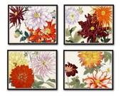Garden Study Series 2 Botanical Collage Set of 4 Prints - Giclee Canvas Prints - Botanical Art Prints, Rose, Chrysanthemum, Dahlia, Poster