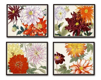 Garden Study No. 2, Botanical Collage, Botanical Print Set, Giclee, Japanese Woodblock Prints, Flower Prints, Rose, Chrysanthemum, Dahlia,