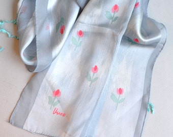 "SALE! Vera Neumann - Long Chiffon Striped ""Rosebud"" Silk Scarf"