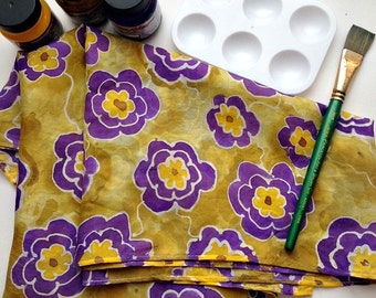 Silk Painting Kit - Fabric Painting - Craft Kit - DIY Gift - Design Your Own Scarf - Craft Pattern - Gift Kit - Flower Pattern