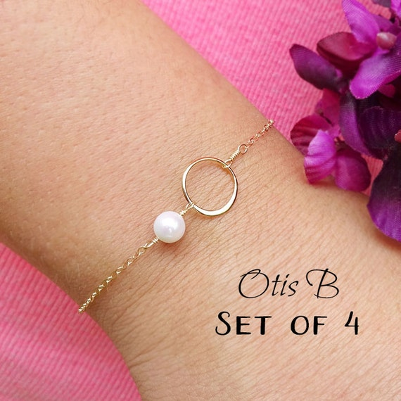 Freshwater pearl bracelets, Bridesmaid jewelry gift sets, FOUR karma bracelets, eternity circle bracelets for bridesmaids, Bridal Jewelry