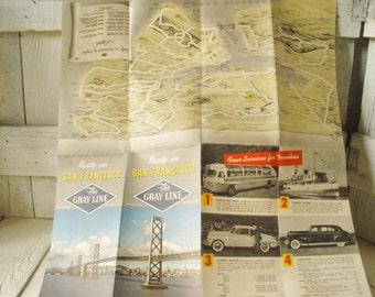 Vintage San Francisco map tour guide brochure Gray Line 1940s