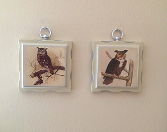 Upcycled Brown Owl Prints on cream and silver painted wood