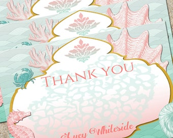 Mermaid Thank You Cards-Under the Sea Thank you cards- birthday thank you- shower thank you-Digital Printable