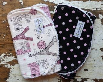 Baby Girl Burp Cloths - Set of 2 - Glitter Paris Eiffel Tower & Glitter Dot - Pink, Silver and Black