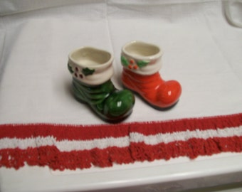 Vintage Santa Boot Decoration Green Red Vintage Lot of 2 Vintage Holiday Decor Santa Boot Toothpick Holder Christmas Decoration Circa 1960s