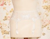 Vintage Ivory Embroidered Tulle Garter Belt, Suspender Belt. Circumference: 26 - 30""