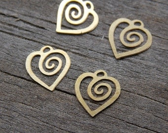 50 Tiny Brass Heart Charms 8mm