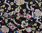 C2024B - 1 meter  Cotton Fabric - Diamond, crown and tiara (black)(145cm width)