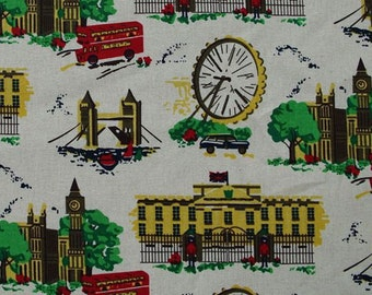 L336 -  1 meter Cotton Linen Fabric - Bus, Tower and Windmill (width=145cm)