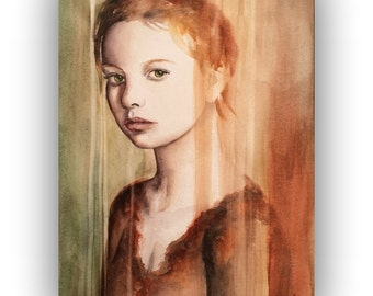 ORIGINAL watercolor portrait painting - Innocence, original painting, framed  -  lady, red, green, framed painting, Ready to Hang