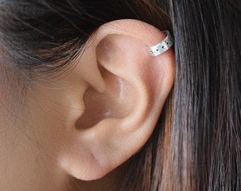 Dotted Cuff Earring, Handmade Ear Cuff, Stamped Cuff, Wide Cuff, 14k Gold Filled, Sterling Silver Cuff, No Pierce Earring, Olive Yew-3174