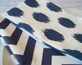 White Cotton Towels with Navy Screen Print Design