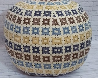 Floor Pouf/Ottoman in Graphic Blue and Tan Design