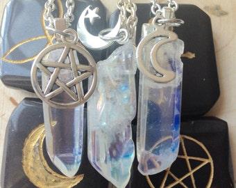 Healing Crystal Necklace, quartz crystal necklace, quartz crystal pendant, healing crystals and stones,kawaii, pastel goth