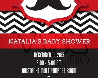 Mustache and Chevron Customizable Party Invitation - Baby shower, elegant, cute, red, white, black, man, woman, bridal, shower, birthday