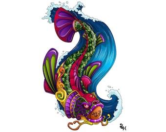 Seru Koi CROSS STITCH PATTERN beautiful rainbow fish in bold bright colors