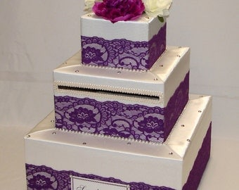 Elegant Custom made Ivory/Plum lace Wedding Card Box-rhinestones-any colors