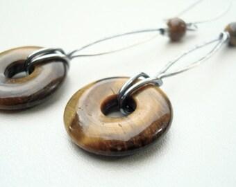 Brown Earrings - Tigers Eye Earrings - Wire Wrap Jewelry - Long Earrings - Tigers Eye Jewellery - Brown Jewelry - Unusual Jewellery - Silver