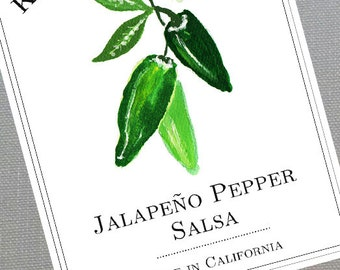 Personalized Pepper, Jalapeño Pepper Canning Labels or Tags, set of 18