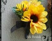 RESERVED for alykru16 Silk mini sunflower Boutonniere Groom groomsman bridal silk wedding flowers x 4