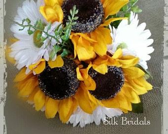 Silk sunflower gerber daisy bridal bouquet bride bridesmaid wedding flowers