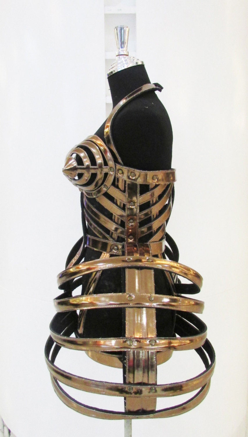 Madonna Cone Bra Pointy Corset Cage Leather Costume By Daneena