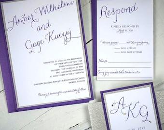 Glitter Wedding Invitations, Silver and Purple, Purple and Silver, Sparkle Invitations, Crystal Wedding Invitation