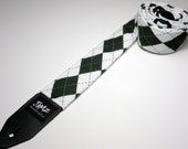 Handmade double padded Green and White Argyle guitar strap