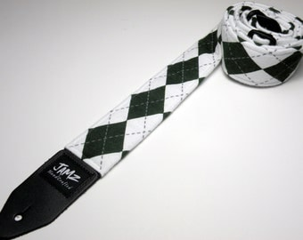 Green and White Argyle handmade double padded guitar strap